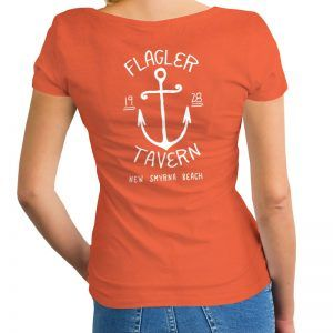 Photo of Orange Womens V-Neck with Anchor Design