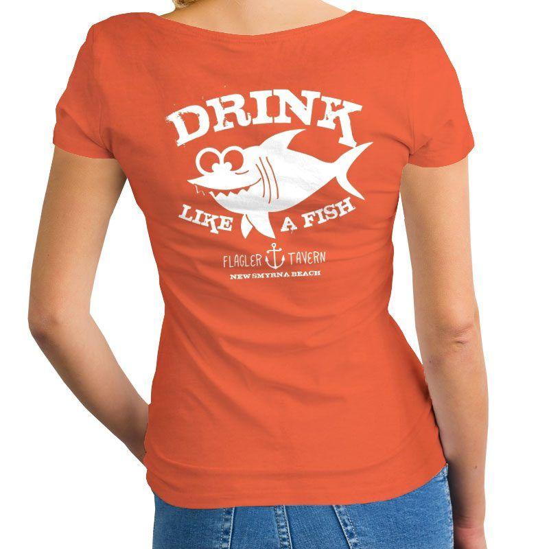 Photo of Orange Womens V-Neck with Fish Design