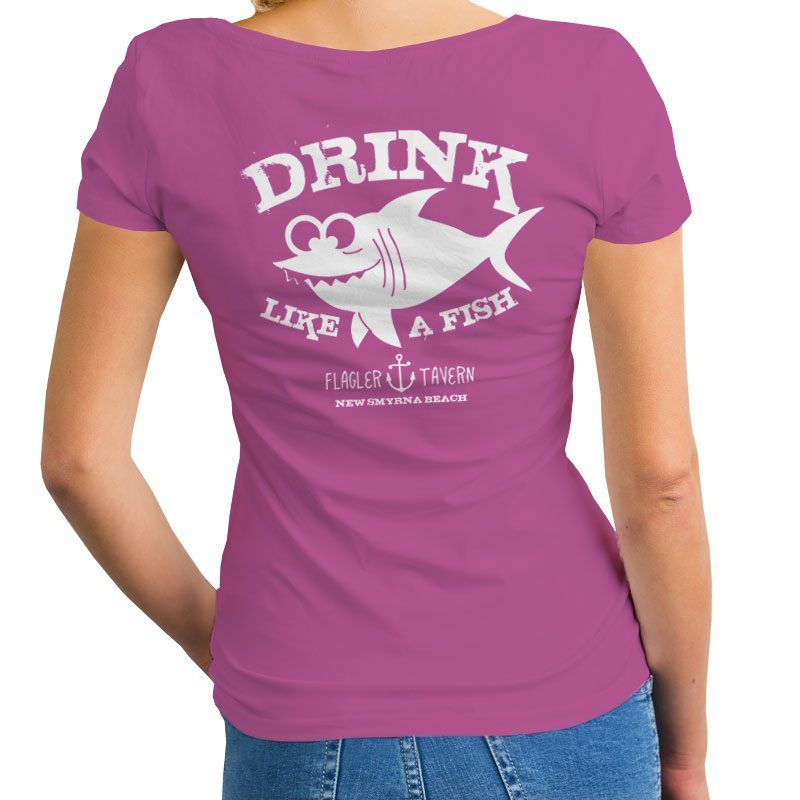 Photo of Purple Womens V-Neck with Fish Design